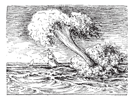 waterspout: Waterspout, vintage engraved illustration. Dictionary of words and things - Larive and Fleury - 1895.