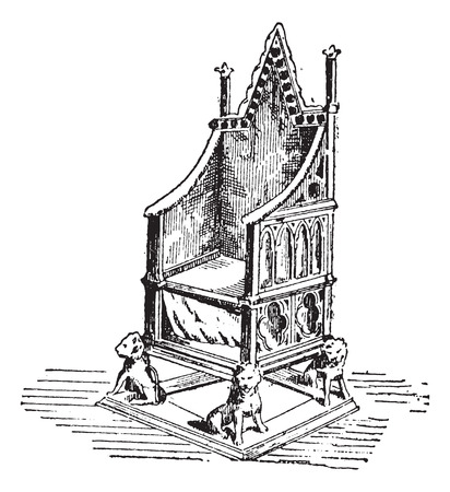 Throne, vintage engraved illustration. Dictionary of Words and Things - Larive and Fleury - 1895 Vettoriali