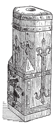 14th Century Wooden Chest found at the Cathedral of Freiburg in Germany, vintage engraved illustration. Dictionary of Words and Things - Larive and Fleury - 1895