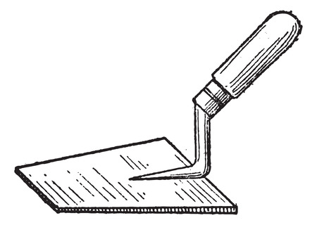 hand trowels: Trowel, vintage engraved illustration. Dictionary of Words and Things - Larive and Fleury - 1895 Illustration