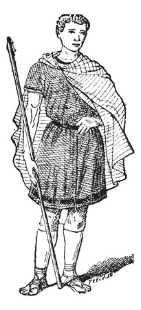 tunic: Roman Tunic, vintage engraved illustration. Dictionary of Words and Things - Larive and Fleury - 1895 Illustration