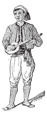 Tunisian, shown playing a tanbur, vintage engraved illustration. Dictionary of Words and Things - Larive and Fleury - 1895 Illusztráció