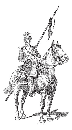 cavalry: Uhlan, showing mounted lancer wearing the Czapka helmet, vintage engraved illustration. Dictionary of Words and Things - Larive and Fleury - 1895