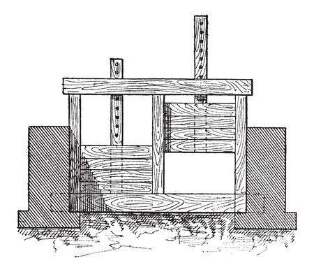 Wooden Gate Valve, shown in lowered position to restrict water flow (left) and in raised position to allow water flow, vintage engraved illustration. Dictionary of Words and Things - Larive and Fleury - 1895 Ilustração