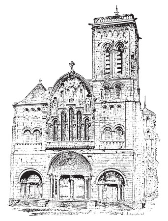Vézelay Abbey or Abbey of la Madaleine or Basilique Sainte-Marie-Madeleine, vintage engraved illustration. Dictionary of words and things - Larive and Fleury - 1895. 矢量图像
