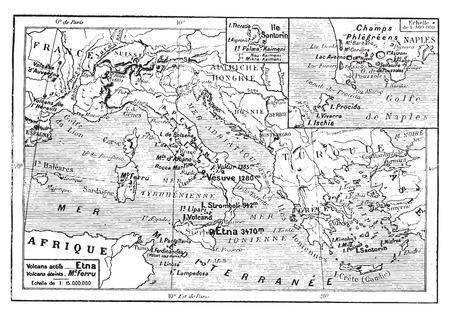 Kaart van Vulkanen van de Middellandse Zee, Italië, Griekenland, vintage gegraveerde illustratie. Woordenboek van woorden en dingen - Larive en Fleury - 1895.