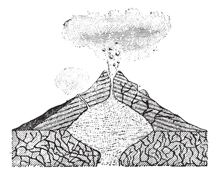 bedrock: Volcano, vintage engraved illustration. Dictionary of words and things - Larive and Fleury - 1895. Illustration