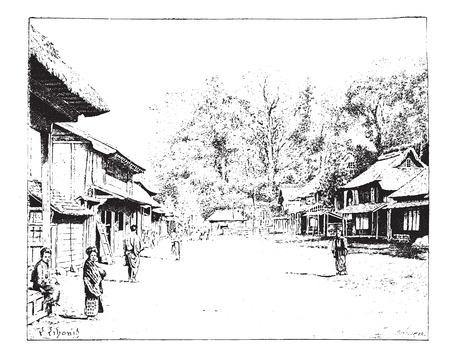 江戸またはエド江戸時代の日本のストリート ビュー ビンテージ図を刻まれています。辞書の単語との事 - Larive、フルーリ - 1895年。