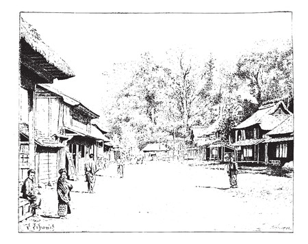 A street view of Yedo or Yeddo or Edo, Japan, vintage engraved illustration. Dictionary of words and things - Larive and Fleury - 1895.