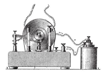 Induction électromagnétique, illustration vintage gravé. Dictionnaire des mots et des choses - Larive et Fleury - 1895