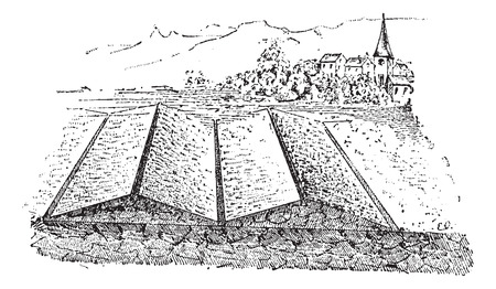 irrigation: Fig 3. Irrigation spill, vintage engraved illustration. Dictionary of words and things - Larive and Fleury - 1895. Illustration