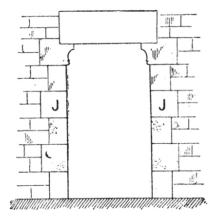 architectural styles: Doorjamb, vintage engraved illustration. Dictionary of words and things - Larive and Fleury - 1895. Illustration