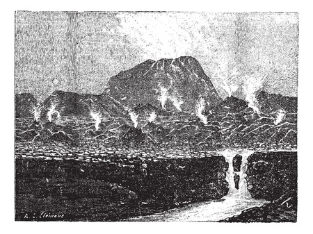 scoria: El Jorullo, a cinder cone volcano, vintage engraved illustration. Dictionary of words and things - Larive and Fleury - 1895.