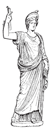 Juno (Naples Museum), vintage engraved illustration. Dictionary of words and things - Larive and Fleury - 1895. Illustration