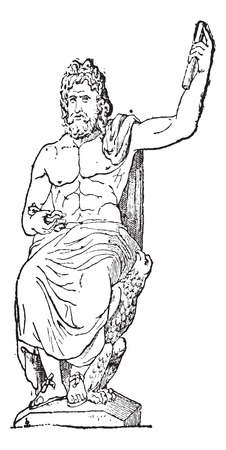 zeus: Jupiter at Vatican museum, vintage engraved illustration. Dictionary of words and things - Larive and Fleury - 1895. Illustration