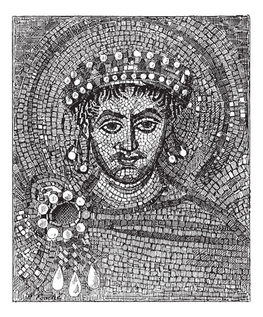 justinian: Justinian mosaic, vintage engraved illustration. Dictionary of words and things - Larive and Fleury - 1895.