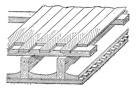 joist: Joist, vintage engraved illustration. Dictionary of words and things - Larive and Fleury - 1895. Illustration