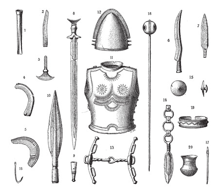 weapons: French Armor and Weapons During the Younger Bronze Age, vintage engraved illustration. Dictionary of Words and Things - Larive and Fleury - 1895 Illustration