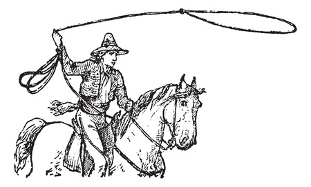 hondo: Lasso, vintage engraved illustration. Dictionary of Words and Things - Larive and Fleury - 1895
