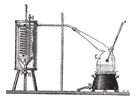 latent: Apparatus for Measuring the Latent Heat of Vaporization of a Liquid, vintage engraved illustration. Dictionary of Words and Things - Larive and Fleury - 1895