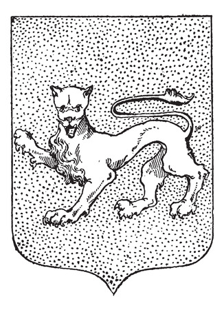 armorial: Leopard Coat of Arms, vintage engraved illustration. Dictionary of Words and Things - Larive and Fleury - 1895 Illustration