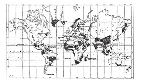 Kaart van het Geografisch Voorkomen van Lepra, vintage gegraveerde illustratie. Woordenboek van woorden en dingen - Larive en Fleury - 1895