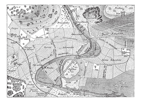 topographical: Topographical Map, vintage engraved illustration. Dictionary of Words and Things - Larive and Fleury - 1895