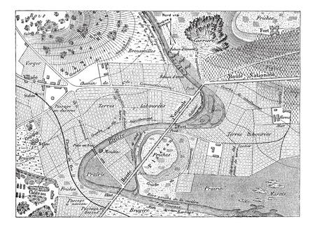 Topographische Karte, Jahrgang gravierte Darstellung. Wörterbuch der Wörter und Dinge - Larive und Fleury - 1895 Standard-Bild - 35352938