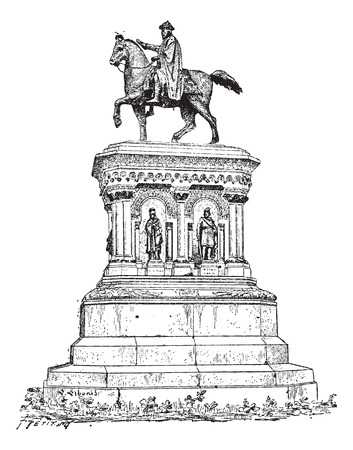 Statue of Charlemagne in Liege, Belgium, vintage engraved illustration. Dictionary of Words and Things - Larive and Fleury - 1895 向量圖像