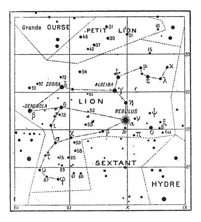 constellation: Leo Constellation, vintage engraved illustration. Dictionary of Words and Things - Larive and Fleury - 1895
