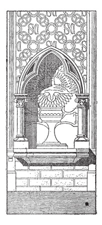 basilica: Lobe, shown is a 3-lobed niche at the Basilica of Saint Clotilde in Paris, France, vintage engraved illustration. Dictionary of Words and Things - Larive and Fleury - 1895