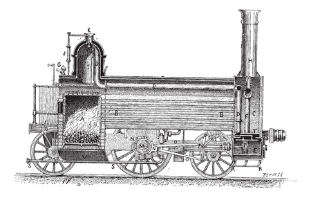 traction engine: Steam Locomotive (longitudinal cross-section), vintage engraved illustration. Dictionary of Words and Things - Larive and Fleury - 1895