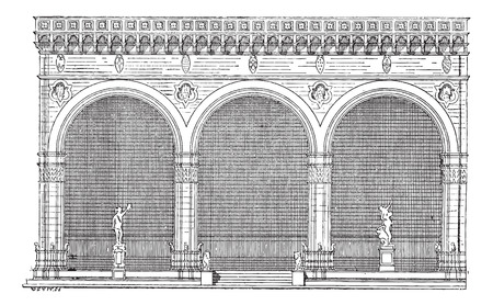architectural detailing: Elevation View, vintage engraved illustration. Dictionary of Words and Things - Larive and Fleury - 1895 Illustration