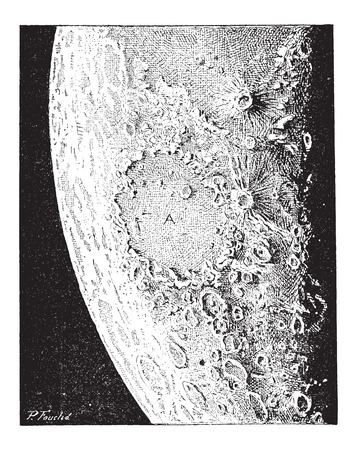 Surface of the Moon, showing numerous volcanic craters and impact craters, vintage engraved illustration. Dictionary of Words and Things - Larive and Fleury - 1895