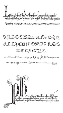 Manuscrito, ejemplos, vintage grabado ilustración. Diccionario de palabras y las cosas - Larive y Fleury - 1895 Foto de archivo - 35353837