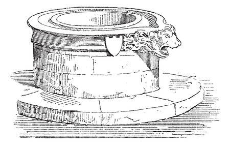 13th: Well with a Sculpted Edge, during the 13th Century, vintage engraved illustration. Dictionary of Words and Things - Larive and Fleury - 1895 Illustration