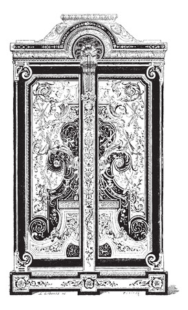 Boule Cabinet at the Louvre Museum in Paris, France, Inlaid with Copper and Tortoise Shell Trimmings, during the 17th Century, vintage engraved illustration. Dictionary of Words and Things - Larive and Fleury - 1895 Illustration