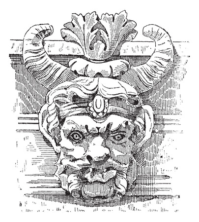 french culture: Grotesque Mask, at the Louvre Palace, in Paris, France, vintage engraved illustration. Dictionary of Words and Things - Larive and Fleury - 1895