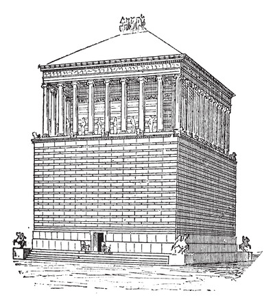 architectural heritage of the world: Tomb of Mausolus or Mausoleum at Halicarnassus, in Bodrum, Turkey, during the 4th Century, vintage engraved illustration. Dictionary of Words and Things - Larive and Fleury - 1895 Illustration