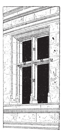 stone arch: Mullion (vertical) and Transom (horizontal), vintage engraved illustration. Dictionary of Words and Things - Larive and Fleury - 1895 Illustration