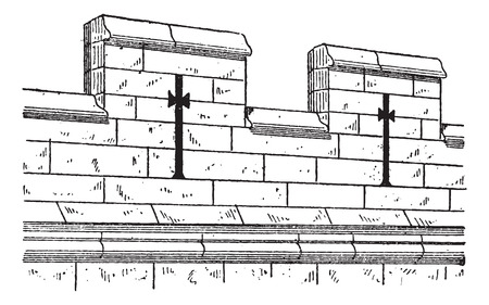 fortifying: Merlon and Crenel, in Military Architecture, during the 15th Century, vintage engraved illustration. Dictionary of Words and Things - Larive and Fleury - 1895