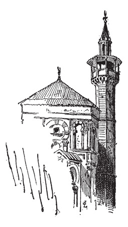 kairouan: Minaret, at the Great Mosque of Kairouan, in Tunisia, vintage engraved illustration. Dictionary of Words and Things - Larive and Fleury - 1895 Illustration