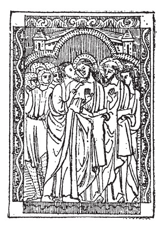 Miniature, on a Book of the Kiss of Judas, vintage engraved illustration. Dictionary of Words and Things - Larive and Fleury - 1895 Illustration
