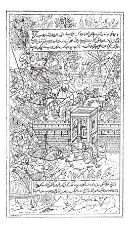 Miniatura, ilustración persa, durante el siglo 16, vintage grabado. Diccionario de palabras y las cosas - Larive y Fleury - 1895 Foto de archivo - 35354743