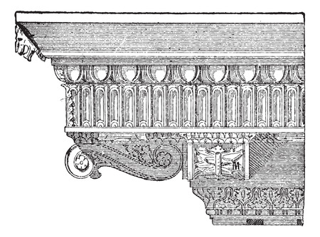 console table: Corbel, forming an Entablature at the Temple of Jupiter, in Rome, Italy, vintage engraved illustration. Dictionary of Words and Things - Larive and Fleury - 1895 Illustration