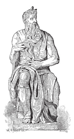 ten commandments: Statue of Moses, by Michaelangelo, in Rome, Italy, vintage engraved illustration. Dictionary of Words and Things - Larive and Fleury - 1895