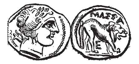 minted: Ancient Celtic Drachma Coin, showing Head (front) and Lion (back), vintage engraved illustration. Dictionary of Words and Things - Larive and Fleury - 1895