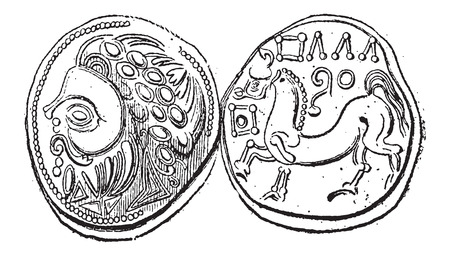 minted: Ancient Celtic DiDrachma Coin, showing Head (front) and Belgian Horse (back), vintage engraved illustration. Dictionary of Words and Things - Larive and Fleury - 1895