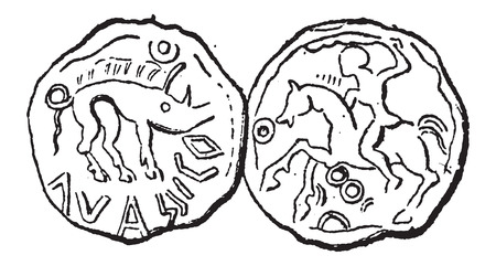 gallic: Ancient Celtic Coin, showing Boar (front) and Hunter on Horseback (back), vintage engraved illustration. Dictionary of Words and Things - Larive and Fleury - 1895