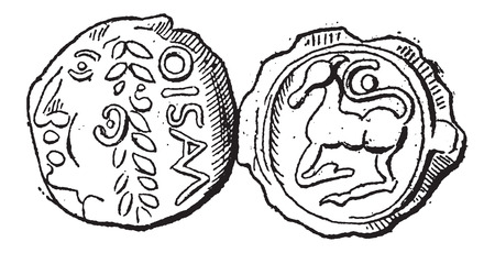 gallic: Ancient Celtic Gold Coin of Santones, showing Head (front) and Horse (back), vintage engraved illustration. Dictionary of Words and Things - Larive and Fleury - 1895 Illustration